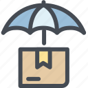business, delivery, logistics, package, protected, secure, umbrella icon
