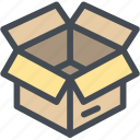 box, business, cardboard, container, cube, logistics, open icon