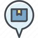 box, delivery, logistic, logistic delivery, logistics, pin, transport location icon