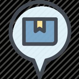 box, delivery, logistic, logistic delivery, logistics, pin, transport location icon