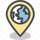 address, business, destination, globe, location, logistics, pin icon