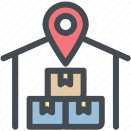 business, logistics, shipping, stock, storage, warehouse, warehouse location icon