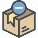 box, box pack, business, cardboard packaging, delivery, logistics, package delete icon