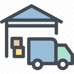 business, logistic delivery, logistics, stock, storage, truck, warehouse icon