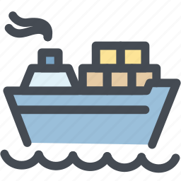 boat, business, container, logistic, logistics, ship, transportation icon