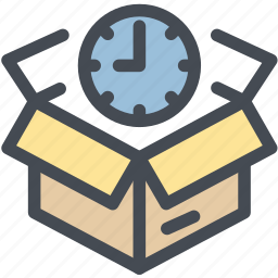 box, delivery, logistic delivery, logistics, package, schedule, time icon