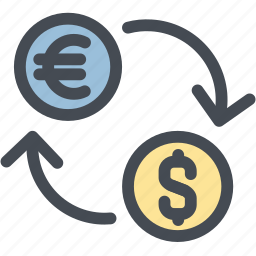business, currency exchange rates, dollar, euro, exchange, logistics, money icon