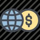 business, currency, dollar, exchange, exchange money, globe, money