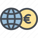 business, currency, euro, exchange, exchange money, globe, money icon