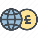 business, currency, exchange, exchange money, globe, money, pound icon