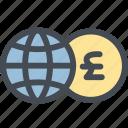 business, currency, exchange, exchange money, globe, money, pound