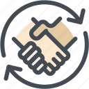 agreement, business, hands, handshake, logistics, shaking icon
