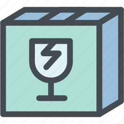 box, breakable, broken glass, business, delicate, fragile package, logistics icon