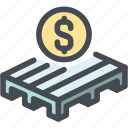 business, logistics, money, pallet, sale pallet, ship icon