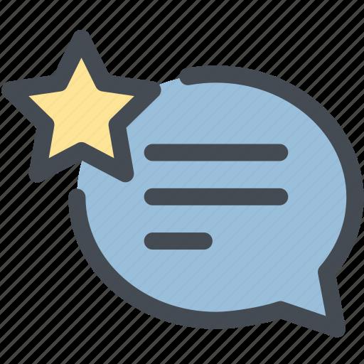 business, logistics, marking, star, talk, testimonial, truth icon