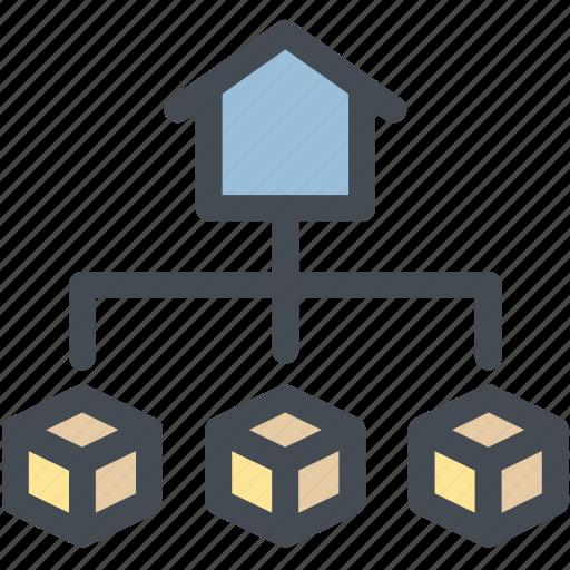 business, deliver, distribution, logistics, management, system icon