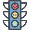 logistics, road, stop, street, street sign, traffic light icon