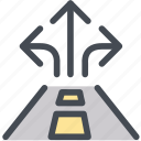 business, directions, logistics, position, road sign, three way, traffic icon