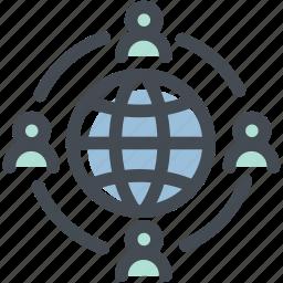 business, globe, links, logistics, network, social media icon