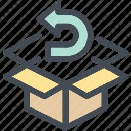 business, exchange, logistics, product, refund, reorder, return icon