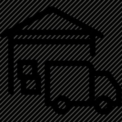 business, logistics, shipment, stock, storage, truck, warehouse icon