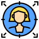 target, analytics, software, customer, communication, data, system icon