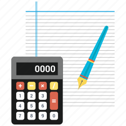 calculate, calculation, note, notepad, page, pen, text icon