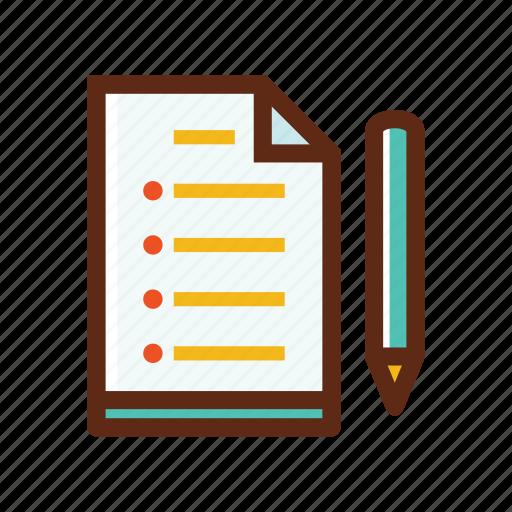 business, colors, list, paper, pencil, planning icon
