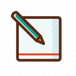 business, colors, memo, notepad, paper, pencil icon