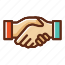 business, colors, deal, handshake, partner, partnership, teamwork icon