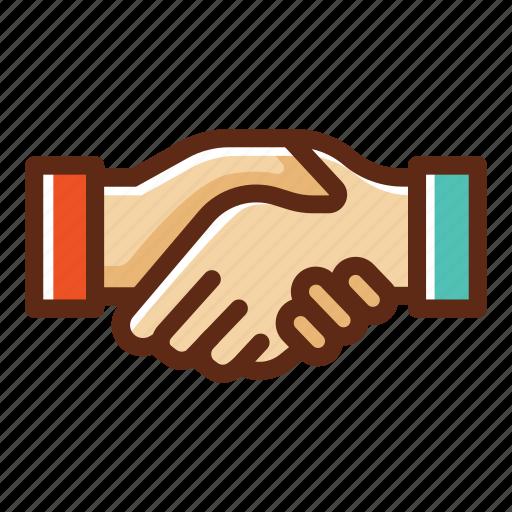 business, colors, deal, handshake, partner, partnership, teamwork icon