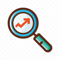 business, colors, market research, search, survey icon
