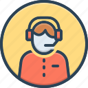 call center, consultant, customer service, headset, helpline, operator, telemarketing icon