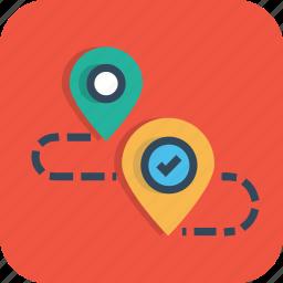 destination, direction, location, map, navigation, path, way icon