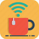 coffee, mug, network, office, tea, wifi, work icon