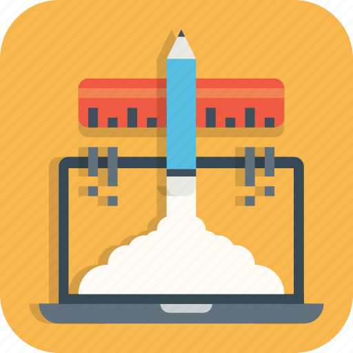 boosting, business, laptop, launching, pad, startup icon