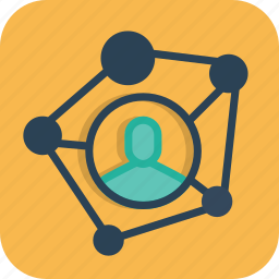 business, connection, linking, man, network, node, partnership icon