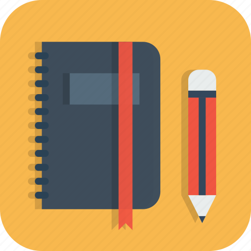 agenda, annotations, book, diary, pencil, personal icon