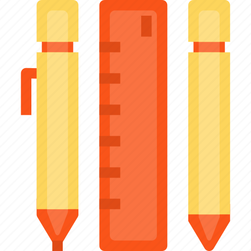 business, equipment, essntial, office, pen, pencil, ruler, stationery, tool icon