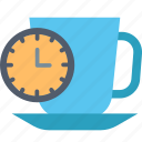 break, clock, coffee, relax, rest, stop, time icon