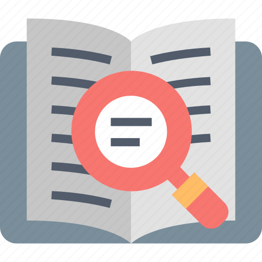 book, explore, find, magnifier, search, text, zoom icon