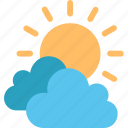 cloud, forecast, information, sun, sunny, temperature, weather icon
