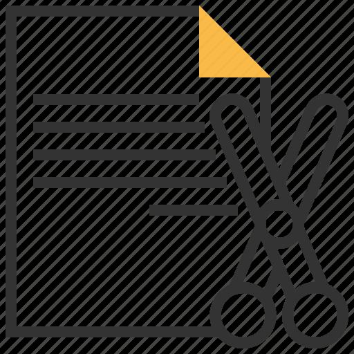 data, document, file, format, paper, scissors icon