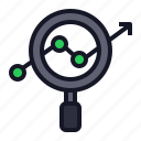 analytics, business, economics, identity, magnify, search, stats icon