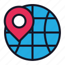 address, business, economics, global, globe, pin, position icon