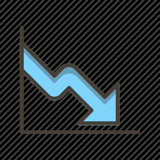 business fall, chart, down fall, loss icon