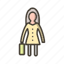 female, portfolio, woman with briefcase icon