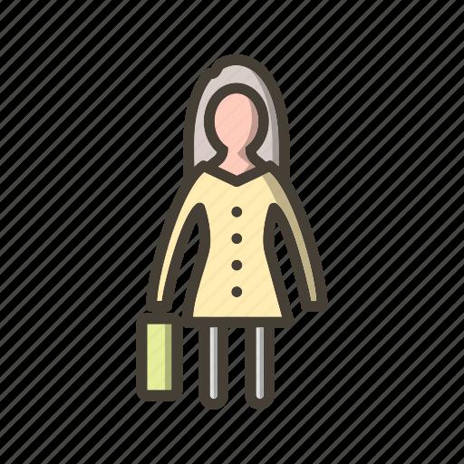 female, portfolio, woman, woman with briefcase icon