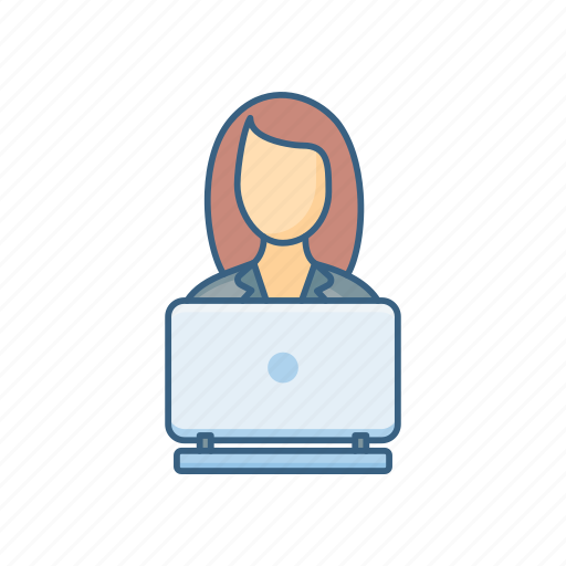 business, busy, job, profile, woman, work, working icon
