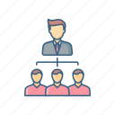lead, leader, structure, hierarchy, management, organization, team icon